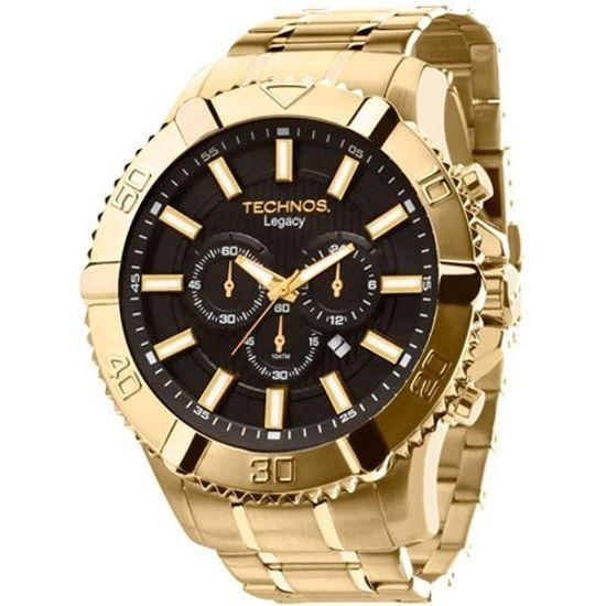 Relógio TECHNOS cronógrafo Classic Legacy os20is 4p preto dourado -  aconfianca b02af55f24