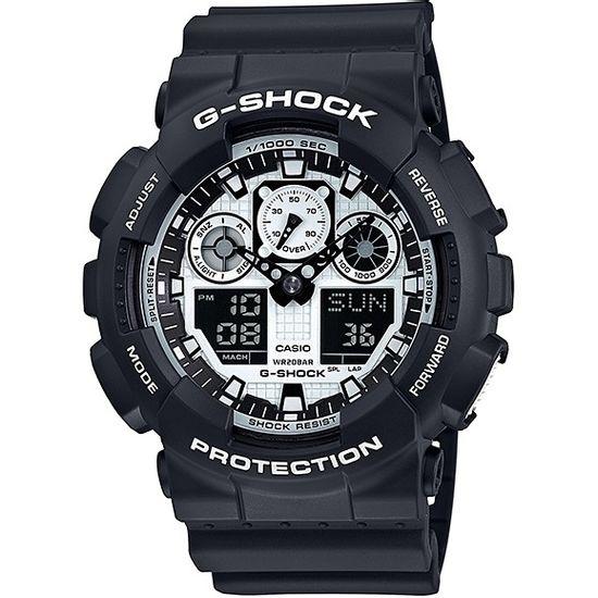 a9ad65de359 Relógio CASIO G-SHOCK anadigi ga-100bw-1adr preto branco - aconfianca