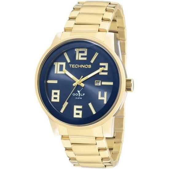 d1ea8bf2925be Relógio technos analógico classic golf 2115kqu 4a azul dourado ...